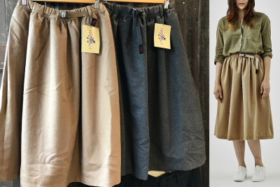 GRAMICCI WOOL LONG FLARE SKIRT